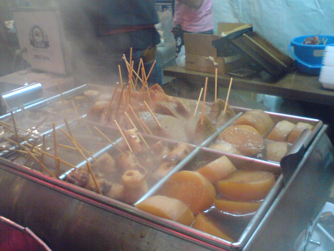 In Shizuoka, most oden are skewered with a stick for easier ...