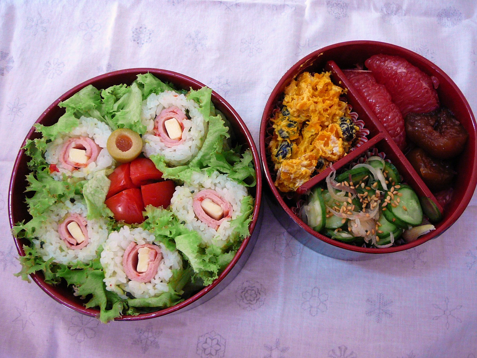 today s lunch box bento 10 81 rose window sushi bento shizuoka gourmet. Black Bedroom Furniture Sets. Home Design Ideas