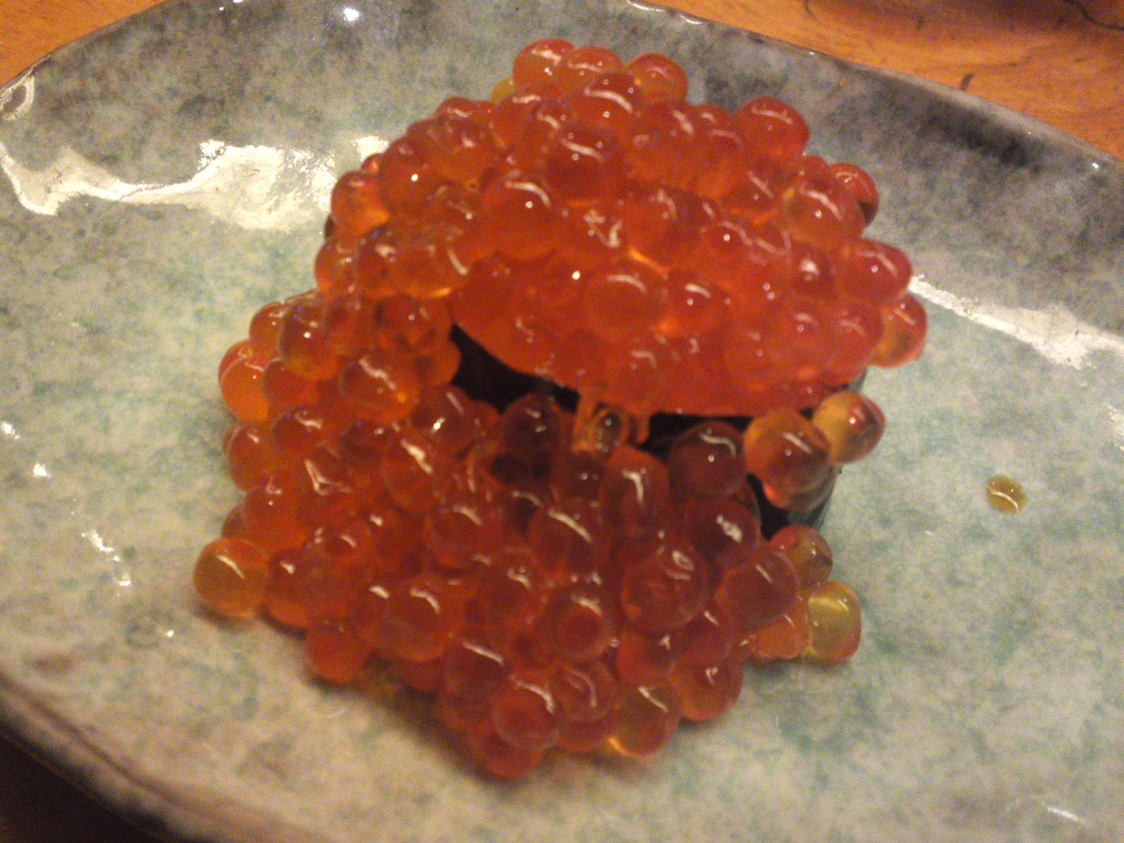 Shrimp egg sushi for Roe fish eggs