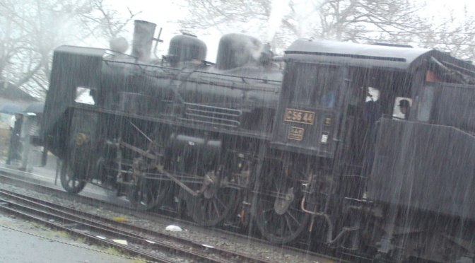Steam Locomotive at Ieyama Station, Oigawa Railway Line in a Driving Storm!