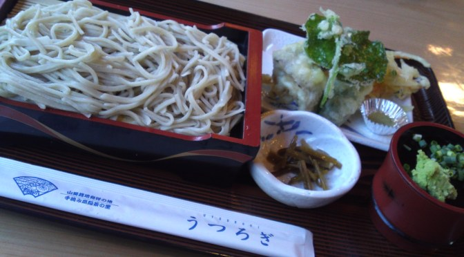 Soba/Buckwheat Noodles and Wasabi Leaf Tempura at Utsurogi, Utogi, Shizuoka City, the Birthplace of Wasabi!