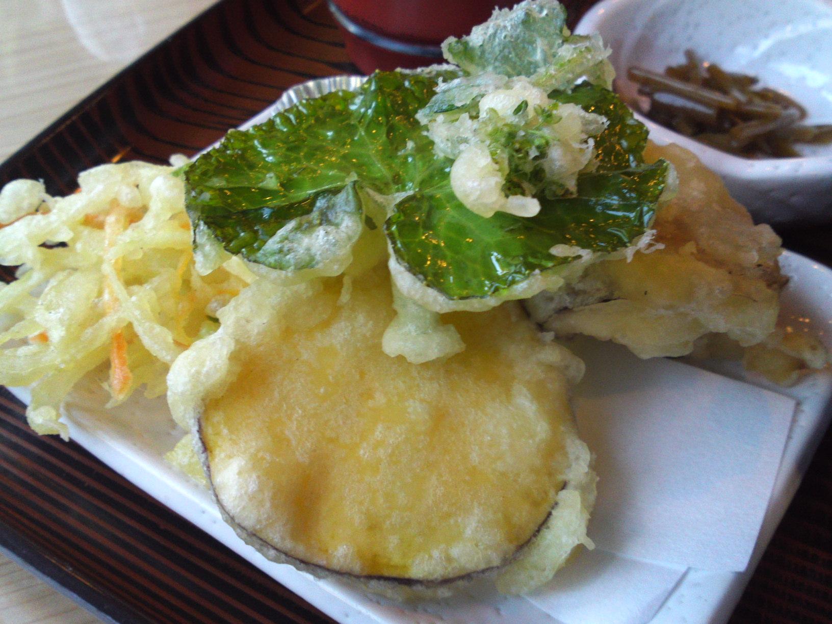 ... sweet potato, onion and carrot kakiage, shiitake and wasabi leaf