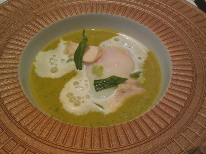 M2 Labo Shizuoka Products Recipe by Dominique Corby at Le Cordon Bleu 1: Light Vegetables and Soy Milk soup, Onsen Tamago, Wasabi Espuma, and Amagi Shamo Chicken!