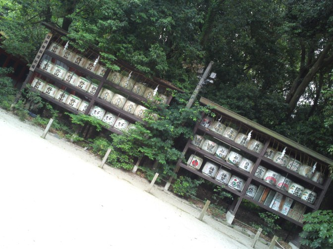 Japanese Sake Barrels and Others at Shinto Shrines in Kyoto City!