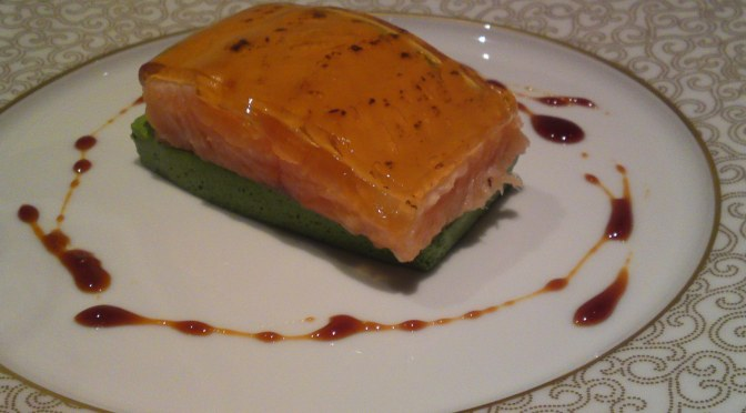 M2 Labo Shizuoka Products Recipe by Dominique Corby at Le Cordon Bleu 2: Low Temperature Baked Amago Trout, Cream of Shizuoka Vegetables and Thick Soy Sauce Jelly