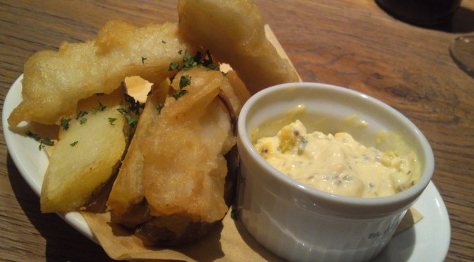 Fish and Chips at BLUE BOOKS cafe in Shizuoka City!