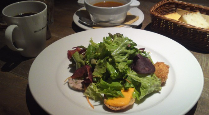 "American Gastronomy: ""5 starters""  Salad & Manhattan Clam Chowder Lunch at BLUE BOOKS Cafe in Shizuoka City!"