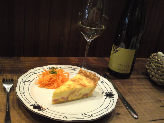 Quiche Lorraine & Alsace Riesling Wine at La Sommeliere in Shizuoka City!